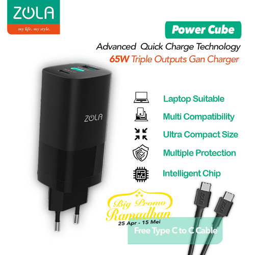 Foto Produk Zola Power Cube Charger GaN 65W fast charger QC 4.0 PD 3.0 PPS FCP SCP dari Zola Indonesia