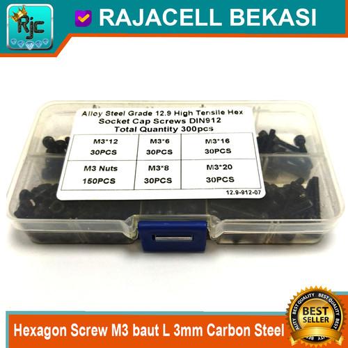 Foto Produk 300pcs Hexagon Screw M3 baut L 3mm Carbon Steel Alloy DIN912 12.9 dari RAJACELL BEKASI