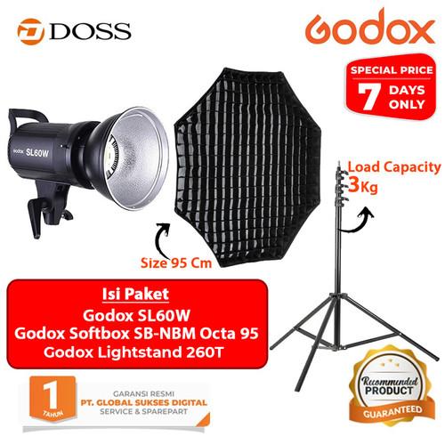 Foto Produk Godox SL60W LED Video Light Paket Softbox + Lightstand - PAKET OCTA dari DOSS