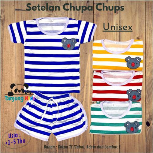 Foto Produk Baju Setelan Stelan Chupa Chups Chup Bayi Anak Unisex 1-5 Thn Salur - YELLOW-KOALA, S dari Tanjung Kids