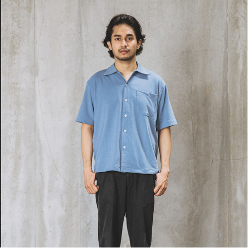 Foto Produk Relaxed Knitted Shirt - Moonlight Blue dari Contentment Store