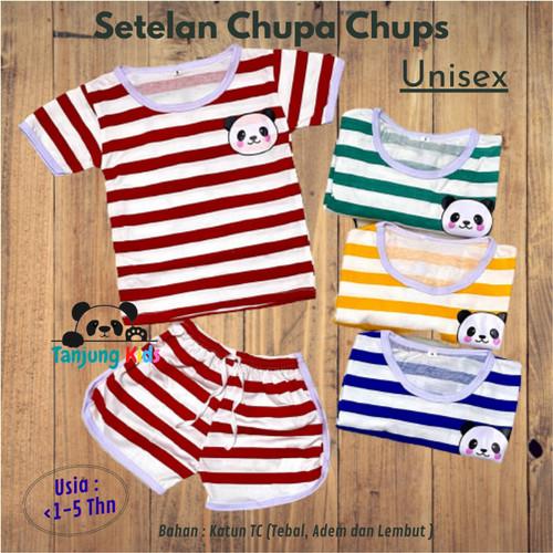 Foto Produk Setelan Stelan Baju Chupa Chups Chup Bayi Anak Unisex 1-5 Thn Salur - YELLOW-PANDA, S dari Tanjung Kids