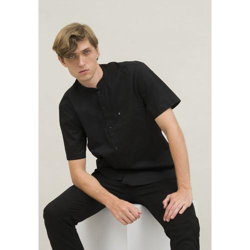 Foto Produk baju koko muslim hitam lengan pendek kemeja koko slim fit houseofcuff dari House of Cuff