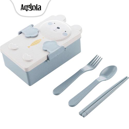 Foto Produk Kotak Bekal Makan Lucu Lunch Box Set Tempat Makan Siang Kartun E77 - Biru Muda dari Angola Official Store