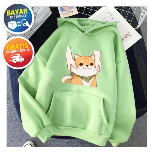 Foto Produk Jaket Sweater Hodie Anak Perempuan SMILE DOGGY 6 - 10 Tahun - Hijau dari Yanathan Kids Store