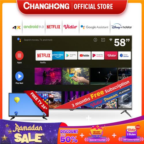 Foto Produk Changhong 58 Inch 4K UHD Android 9.0 Smart TV Netflix LED TV -U58H7A dari Changhong Official