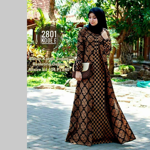 Foto Produk DRESS MUSLIMAH GAMIS BATIK MODERN SYARI ATASAN MUSLIM WANITA KONDANGAN - kode E, jumbo dari KASENGSEM BATIK