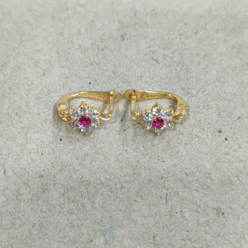 Foto Produk anting jepit bunga mata merah putih 1 gram emas muda dari pj hobby