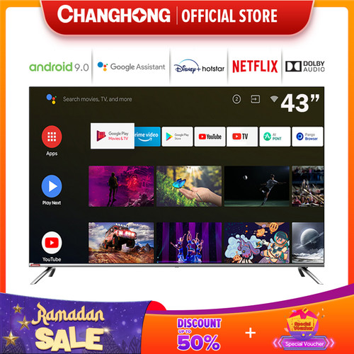 Foto Produk Changhong Framless Google certified Android Smart 43 Inch LED TV L43H7 dari Changhong Official