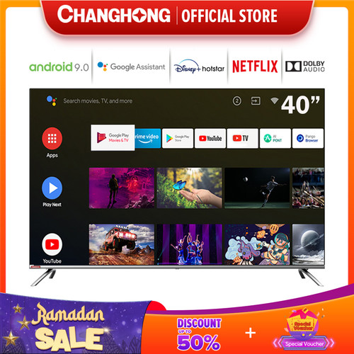 Foto Produk Changhong Framless Google certified Android Smart 40 Inch LED TV L40H7 dari Changhong Official