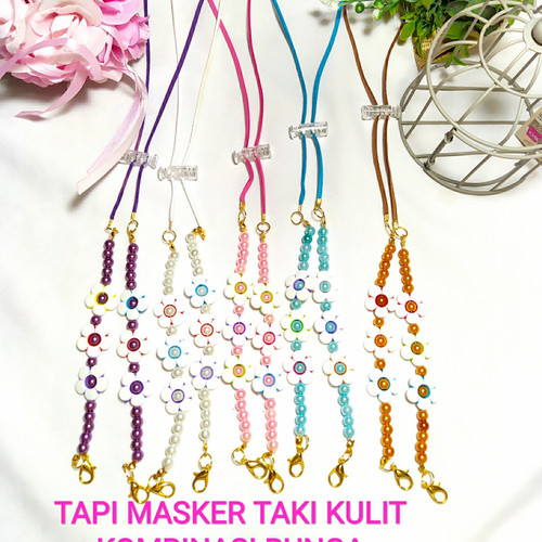 Foto Produk TALI MASKER/PENGAIT HIJAB/KALUNG KULIT KOMBINASI BUNGA 17 dari tokounikmu2011