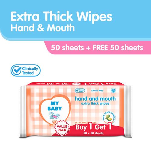 Foto Produk MY BABY Extra Care Wipes Hand & Mouth 50 + 50 Sheets] - Tisu Basah dari Tempo Store Official