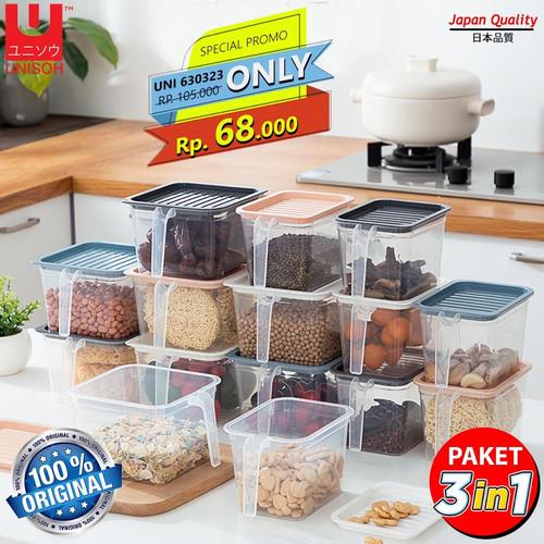 Foto Produk UNISOH PROMO 3 IN 1 KOTAK KONTAINER MAKANAN KULKAS MODEL PERSEGI - PINK dari UNISOH