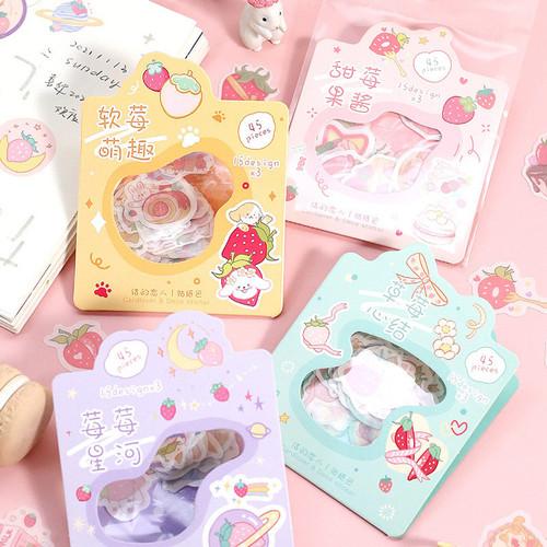 Foto Produk Sweet Strawberry Garden Flake Stickers Set - Sticker Unik - Sticker dari Pinkabulous