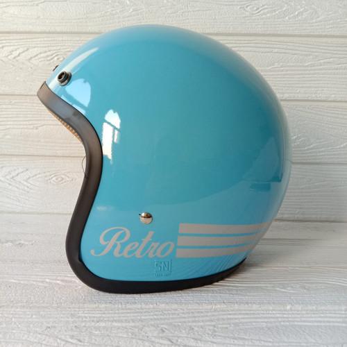 Foto Produk HELM BOGO RETRO DEWASA HELM POLOS CLASSIC GARIS 3 FLAT SMOKE - HELM SAJA dari Master Helmet