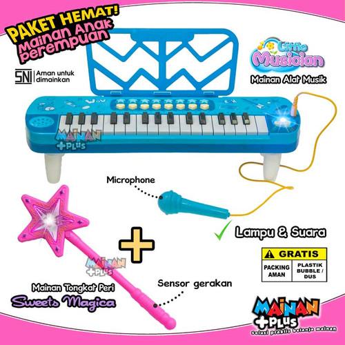 Foto Produk PAKET MAINAN ANAK PEREMPUAN PINKY PIANO KEYBOARD + TONGKAT PERI AJAIB - Piano Blue dari MainanPlus