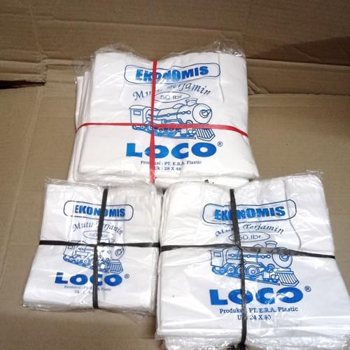 Foto Produk kantong plastik kresek loco ekonomis putih susu ukuran 17-28 isi 50 - 17 dari mujahidin tissue store