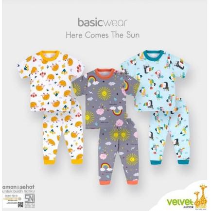 Foto Produk VELVET Junior setelan baju pendek celana panjang k.pundak/ harga 3stel - STARRY NIGHT, M(3STEL) dari babysleepshop