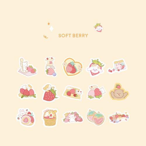 Foto Produk Sweet Strawberry Garden Flake Stickers Set - Sticker Unik - Sticker - Soft Berry dari Pinkabulous