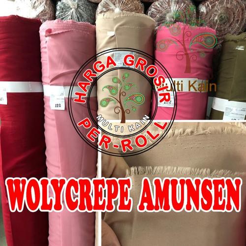 Foto Produk Bahan kain Wolicrepe/Wollicrepe/Wolly crepe Amunsen amunzen Meteran - 2818 hitam dari multi kain