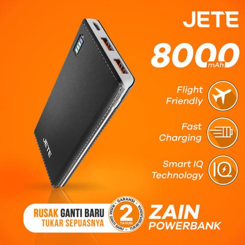 Foto Produk Powerbank JETE ZAIN 8000 mAh Fast Charging & Smart IQ Garansi 1 Tahun - Hitam dari JETE Official Surabaya