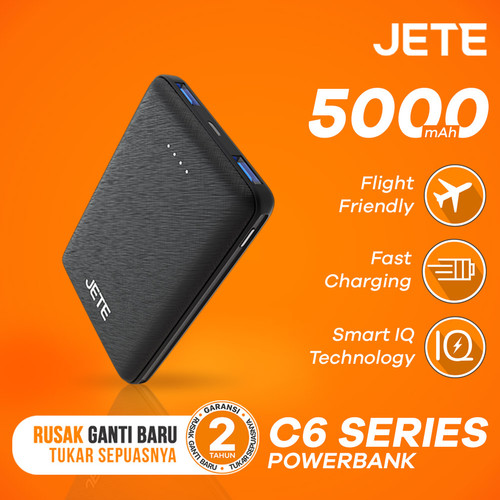 Foto Produk Powerbank JETE C6 5000 mAh Fast Charging and Smart IQ Garansi 1 Tahun - Hitam dari JETE Official Surabaya