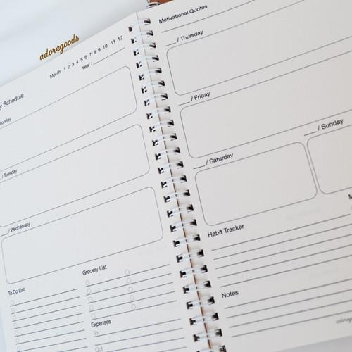 Foto Produk Buku Basic Daily Weekly Planner Kraft Cover Spiral A5 - weeky planner dari adoregoods