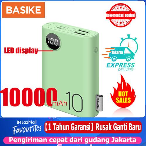 Foto Produk Power Bank Dual USB LCD BASIKE 10000 mAh Mini Murah Fast Charging 2 In - PF23P Green dari Basike Official Store