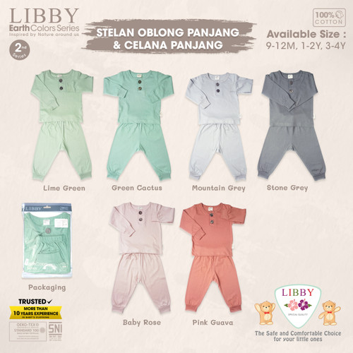 Foto Produk LIBBY EARTH SERIES 2- Stelan Oblong Panjang - Celana Panjang (1stel) - Baby Rose, 1-2Y dari Libby Baby Official Shop