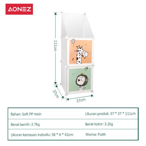 Foto Produk Aonez plastik wardrobe lemari pakaian anak 6 muka 6 slot Dengan pagar - 2 dari AONEZ Official Store