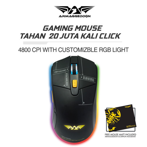 Foto Produk Armaggeddon Mouse Gaming Scorpion 5 4800 CPI - Garansi 2 Tahun - NO NAME dari Armaggeddon Official