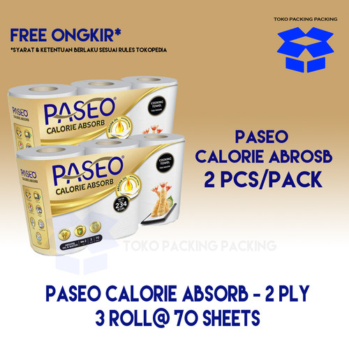 Foto Produk 2 x Paseo Tissue Dapur Calorie Absorb 3 Roll@ 70 Sheets dari Packing Packing