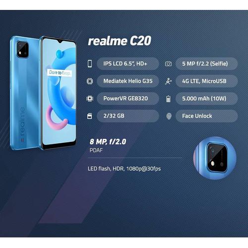 Foto Produk Realme C20 IPS LCD 6.5 Inch, Mediatek Helio G35, 5000 mAh Battery - Black dari Evogad Official