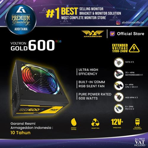 Foto Produk Power Supply PSU Armageddon Voltron Gold 600 RGB 80+ Gold Certified dari Abditama Official