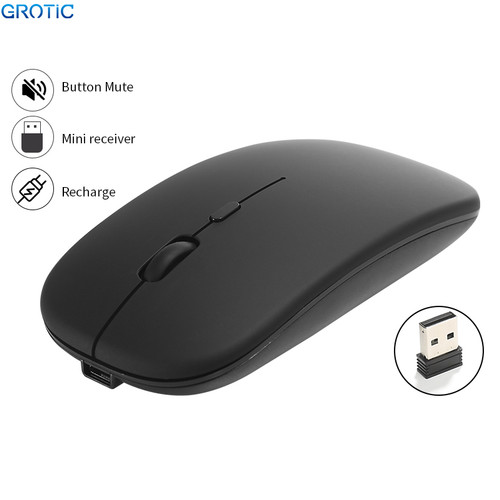 Foto Produk GROTIC Mouse Wireless X1 Slim Silent Rechargeable 2.4Ghz 1600DPI - Hitam dari APRoo