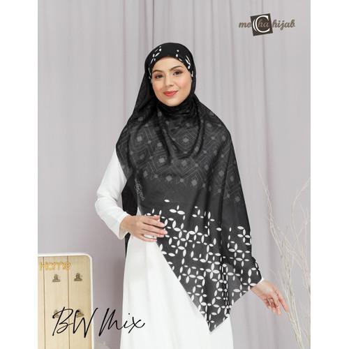 Foto Produk Kerudung Modern Hijab Segi Empat Motif Mocha Hijab Black White Mix dari mochahijabbdg