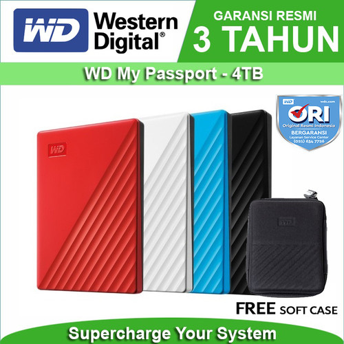 "Foto Produk WD My Passport 4TB - HD HDD Hardisk Eksternal External 2.5"" USB 3.0 - Merah dari WD Official Store"