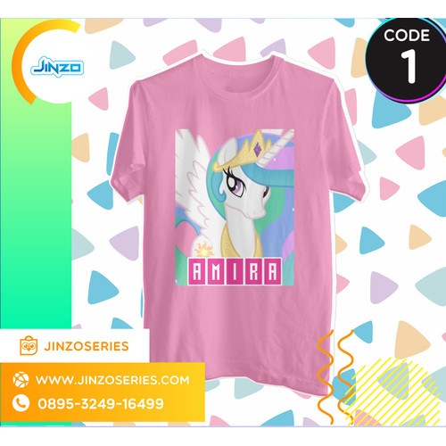 Foto Produk Kaos Anak My Little Pony 1 Putri Celestia Nama - Hitam, 2 dari Jinzo Series