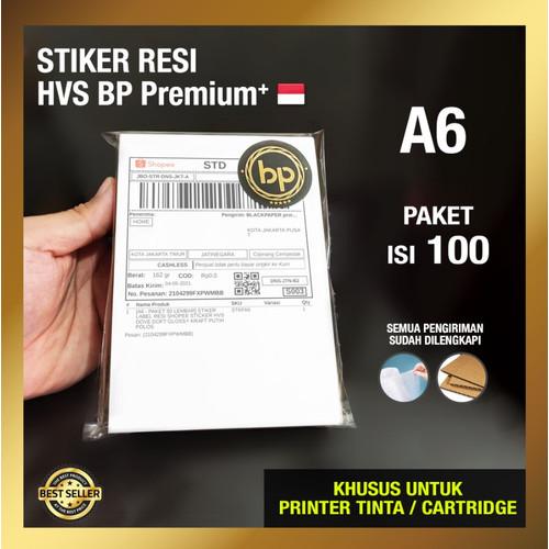 Foto Produk [A6 - PAKET 100 LEMBAR] STICKER RESI LABEL PUTIH POLOS HVS DOFF / DOFT - Doff BP Premium dari Blackpaper.id