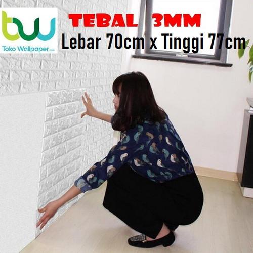 Foto Produk Wallpaper Dinding 3D Bata 70 x 77 cm Brick Foam - Bata Putih 3mm dari Maju Interior