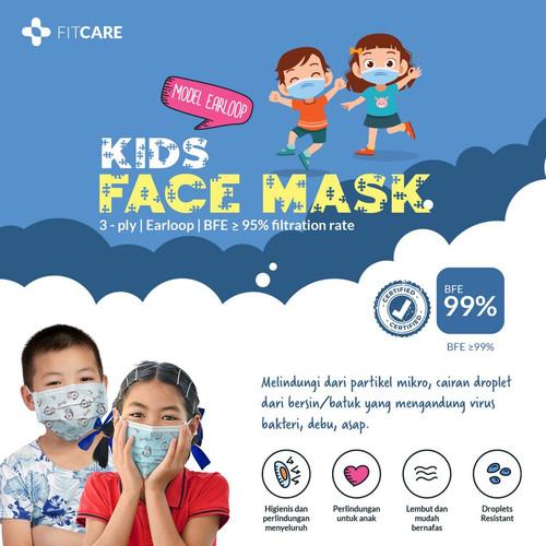 Foto Produk Masker 3ply Kids Fitcare isi 50pcs dari fitcareofficial