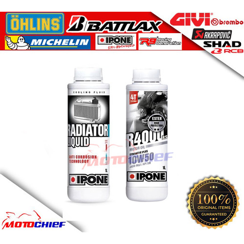 Foto Produk PAKET Oli Mesin IPONE RADIATOR LIQUID + IPONE R4000RS 10W50 dari Motochiefdotnet