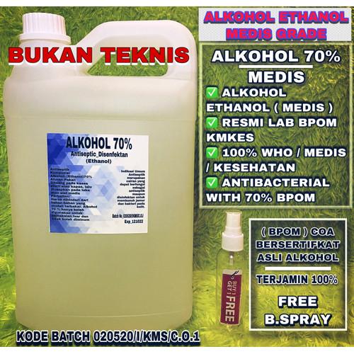 Foto Produk ALKOHOL 70% ETHANOL 5 LITER RESMI BPOM dari cliger shop