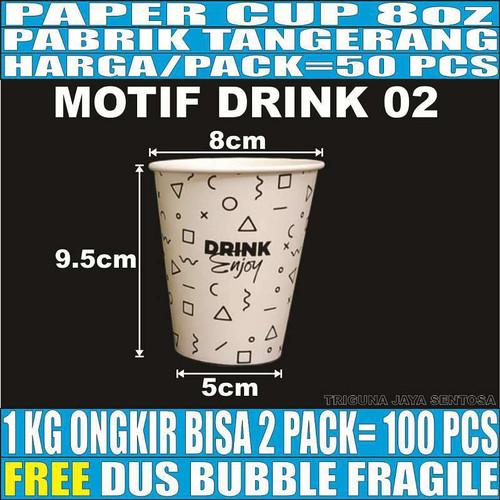 Foto Produk Paper cup 8oz 50pcs Gelas Kertas Kopi Murah Tipis Tahan Panas 240ml - Drink 02 dari Triguna Jaya Sentosa Trifinity