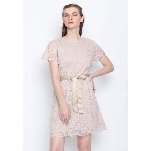Foto Produk Voerin Dress Brokat - L, Cokelat dari Voerin Official