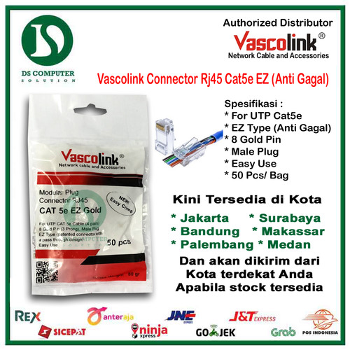 Foto Produk [PROMO RJ45 ANTI GAGAL] Vascolink Connector Rj45 Cat5e EZ GOLD 50pcs dari DSComputer