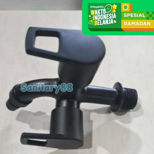 Foto Produk KRAN DOUBLE BLACK KERAN TEMBOK CABANG HITAM / KERAN SHOWER MANDI dari Sanitary88