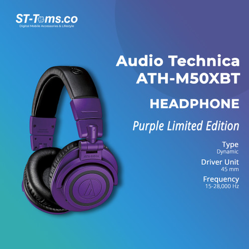 Foto Produk Audio Technica ATH-M50XBT / M50X BT Wireless Over-Ear Headphone Purple dari ST-Toms.co