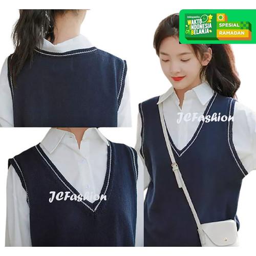 Foto Produk Rompi Rajut Wanita Knit Vest Vneck Variasi List Nathanie - JCFashion - Navy, S dari JC-Fashion