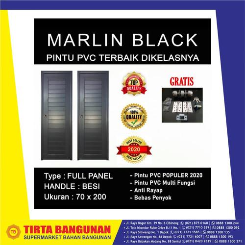 Foto Produk PLATINUM PINTU PVC 70 X 200 CM MARLIN BLACK/ PINTU PVC KAMAR MANDI - ENGSEL KIRI dari Tirta Bangunan